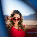 Las Vegas El Dorado Dry Lake Bed Fashion Inspired Portrait Senior Photography Session by DSA Photography Girl in Red Mustang Car
